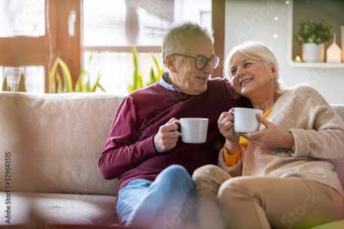 Fototapeta Portrait of a happy senior couple relaxing together at home  obraz
