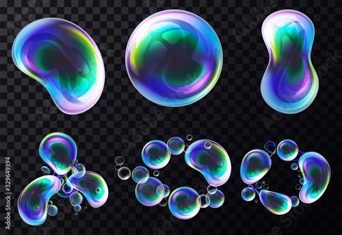 Valokuva Set of isolated vector realistic bubbles or soap