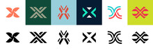 Set Of Letter X Logo. Icon Design. Template Elements - Collection Of Vector Sign