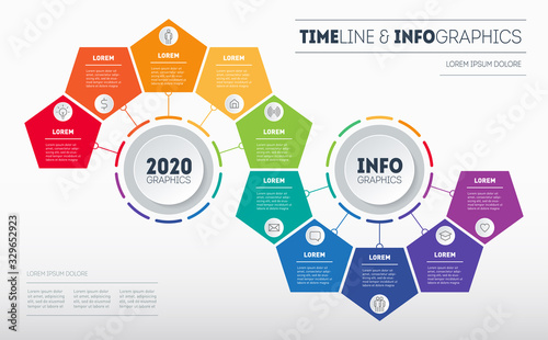 Obraz Infographic consisting of 10 parts divided into 2 segments of 5 parts. Business presentation concept with options. Brochure design template. Diagram of technology or education process with steps. - fototapety do salonu