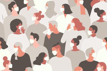 Coronavirus in China. Novel coronavirus 2019 nCoV, people in white medical face mask. Concept of coronavirus quarantine vector illustration. Seamless pattern.