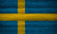 Sweden Flag Wooden Plank Backg...