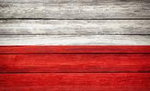 Poland Flag Wooden Plank Backg...