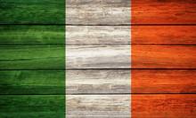Irish Flag Wooden Plank Backgr...