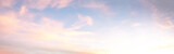 Fototapeta Na sufit - light soft panorama sunset sky background with pink clouds