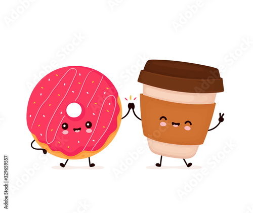 Fotografija Cute happy smiling donut and coffee cup