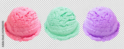 Obraz strawberry, blueberry and mint ice cream scoops or balls on isolated background including clipping path. - fototapety do salonu