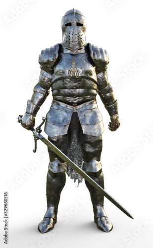 Fotografija Powerful medieval knight standing with a full suit of armor and holding a sword weapon on a white background