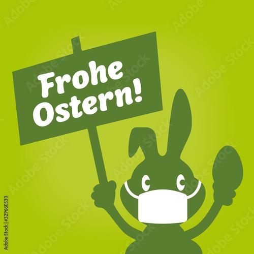 Grafik Osterhase mit Schild Frohe Ostern und Mundschutz Wall mural