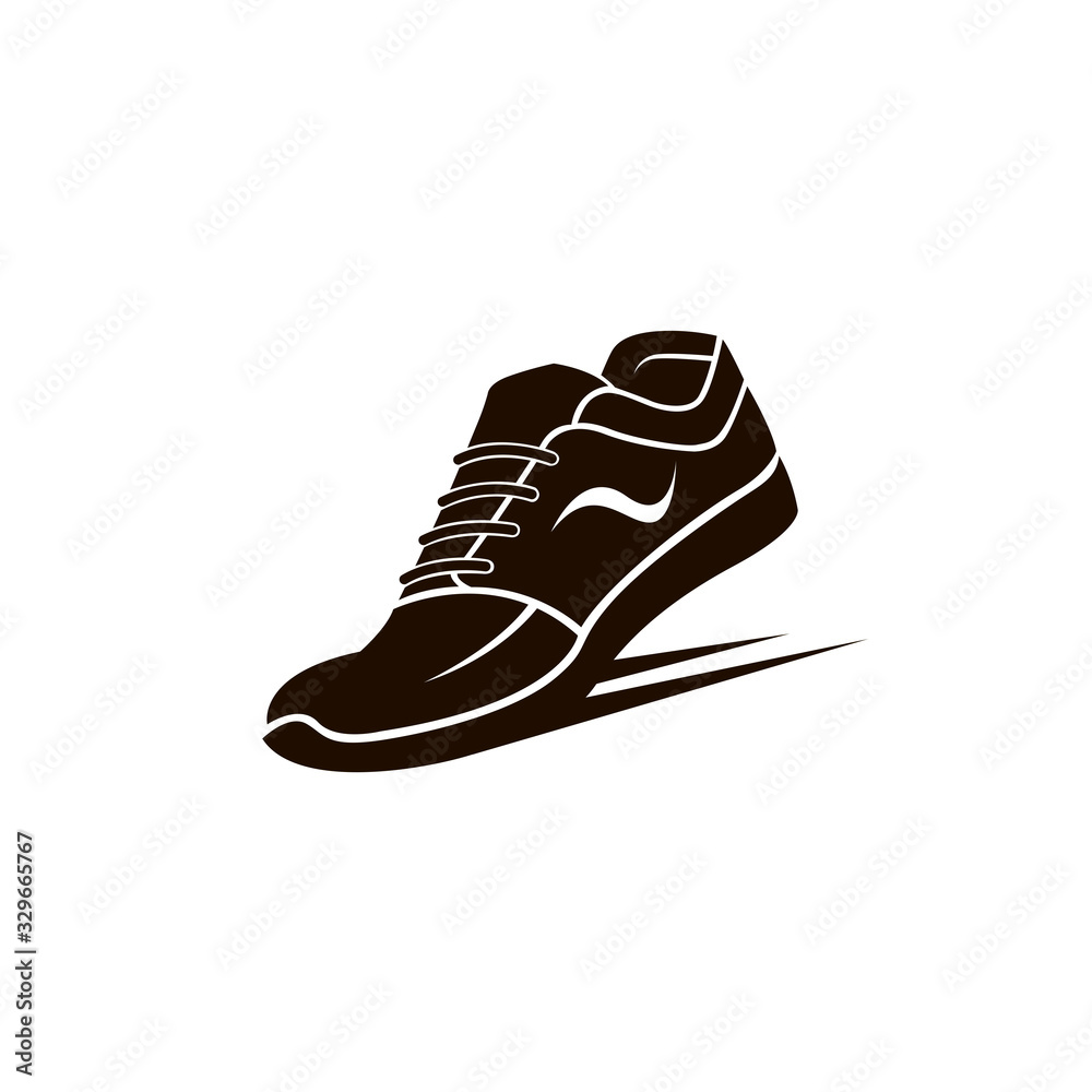 Fototapeta speeding running sport shoes icon isolated on white background