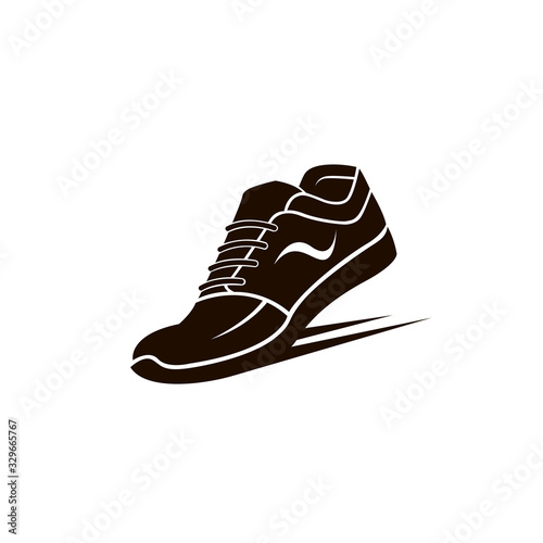 speeding running sport shoes icon isolated on white background
