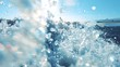 Big ocean wave crashed and make splash and underwater bubbles with sunlight through water surface, natural slow motion underwater scene close up