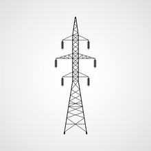 Electricity Pylon Vector Icon. High Voltage Power Line Transmission Tower