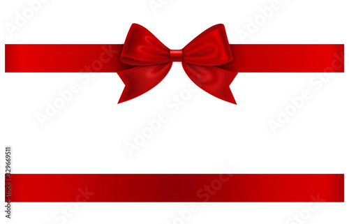 Obraz red ribbon and bow isolated on white - fototapety do salonu