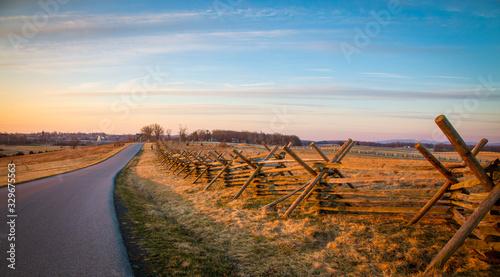 Fototapeta rail fence in Gettysburg national park