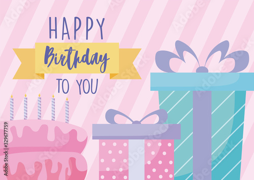 Photo Happy birthday design with gifts boxes and birthday cake