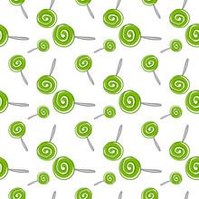 Green Lollipop Wallpaper, Illustration, Vector On White Background.