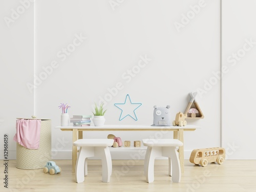 Mock up wall in children room,kids room, nursery mockup.