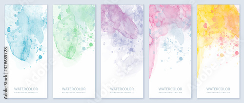 Fototapeta Set of light colorful vertical vector watercolor backgrounds for banner, brochur