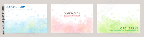 Fototapeta colorful watercolor vector background set: blue pink green obraz