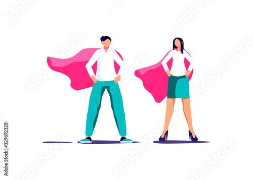 Fotografie, Tablou Male anf Female superhero