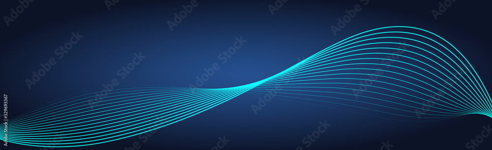 Fototapeta Abstract wave element for design. Wave with lines created using blend tool