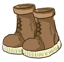 Brown Boots, Illustration, Vector On White Background.