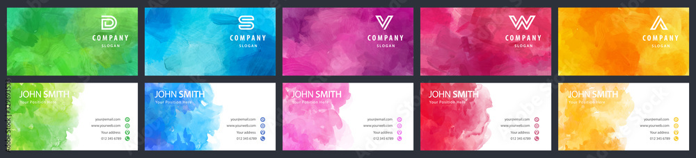Fototapeta Bundle set of colorful business card vector templates with watercolor backgrounds