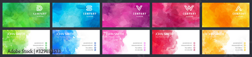 Fotografía Bundle set of colorful business card vector templates with watercolor background