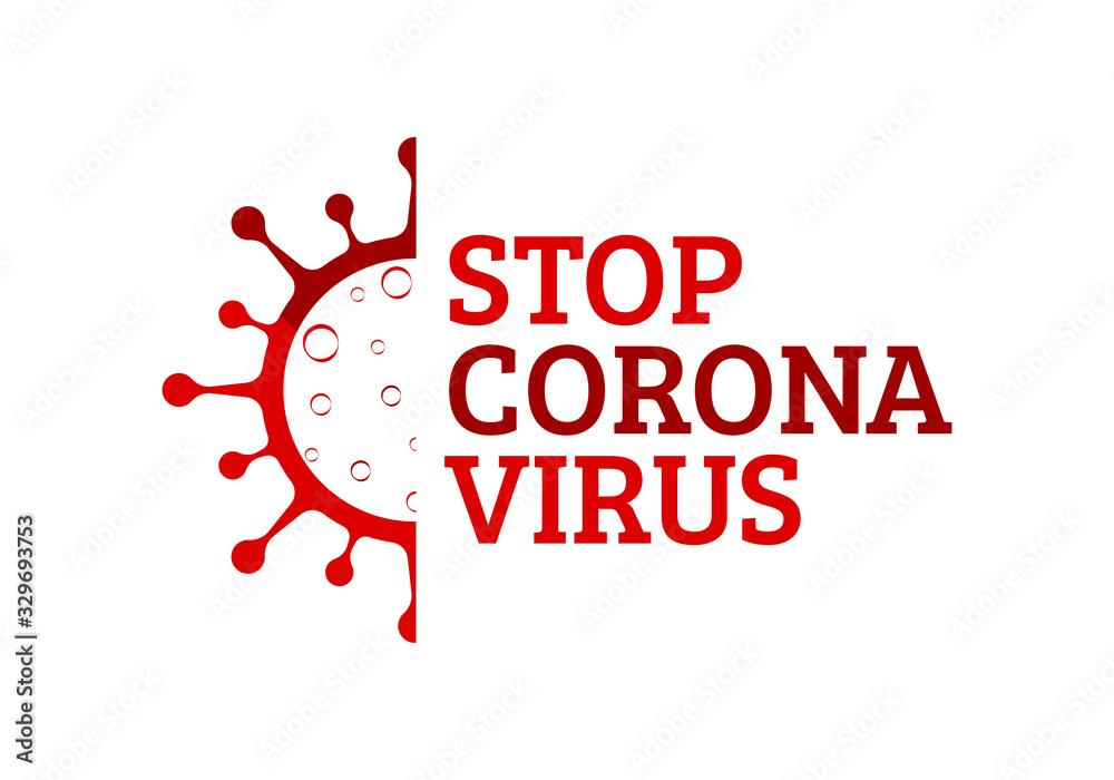 Fototapeta Coronavirus (Covid-19). Symbol of the fight against coronovirus. Stop virus sign. Coronovirus infection emblem flat vector illustration.