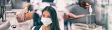 Coronavirus corona virus prevention for COVID-19 banner. Hand sanitizer alcohol gel rub vs washing hands hygiene in hospital or Asian woman wearing face mask preventive epidemic spreading header.