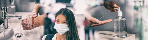 Coronavirus corona virus prevention for COVID-19 banner. Hand sanitizer alcohol gel rub vs washing hands hygiene in hospital or Asian woman wearing face mask preventive epidemic spreading header. - 329695901