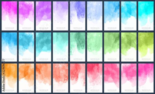 Fototapeta Big set of light colorful vector watercolor vertical backgrounds for poster, banner or flyer obraz