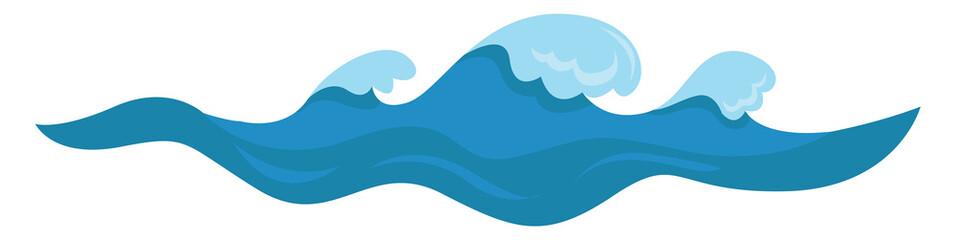 Blue waves, illustration, vector on white background.