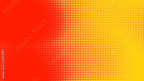 Dots halftone orange yellow color pattern gradient texture with technology digital background. Dots pop art comics with summer background.