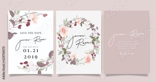 Obraz na płótnie sherry blossom Summer Flower Wedding Invitation set, floral invite thank you, rs