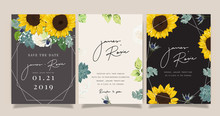 Tropical Emerald Green Luxury Wedding Invitation, Floral Invite Thank You, Rsvp Modern Card Design In Summer Pink Leaf And Greenery Branches Decorative Vector Elegant Rustic Template
