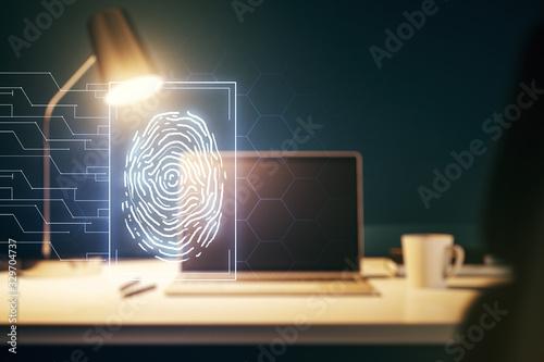 Multi exposure of abstract graphic fingerprint sketch on modern computer backgro Wallpaper Mural