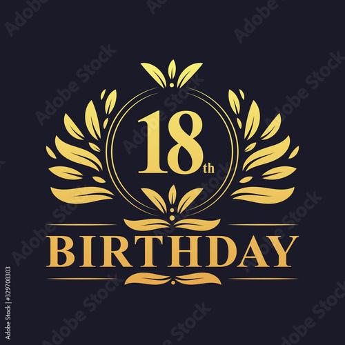Luxury 18th Birthday Logo, 18 years celebration. Wall mural