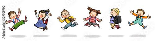 Tablou Canvas ジャンプする子供たちCセット(小学生、ランドセル)