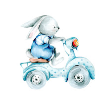 Bunny Boy On A Bike. Watercolor