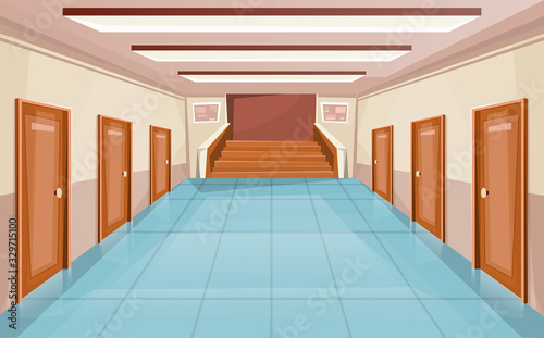 Fotomural School corridor with doors and stair