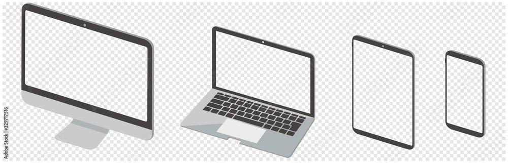 Fototapeta pc desktop laptop smartphone vector illustration