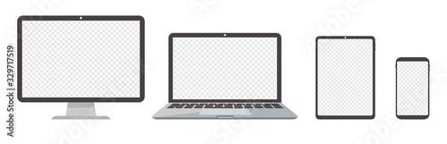 Obraz pc desktop laptop smartphone vector illustration - fototapety do salonu