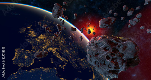 asteroid and swarm of meteorites flying towards Earth - artistic vision.3d illustration
