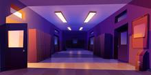 School Hallway Night Interior With Entrance Doors, Lockers And Bulletin Board On Wall In Electric Light. Vector Cartoon Illustration Of Empty Corridor In College, University With Classrooms Doors
