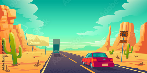 Obraz Road in desert with cars riding long asphalt highway with 66 route sign, ad billboard, rocks and cacti. Roadway landscape with skyline, rocky barren wasteland. Travel trip cartoon vector illustration - fototapety do salonu