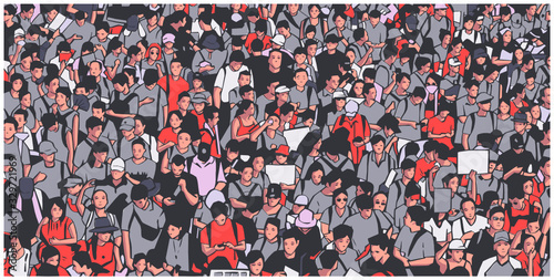 Fényképezés Illustration of large protesting crowd