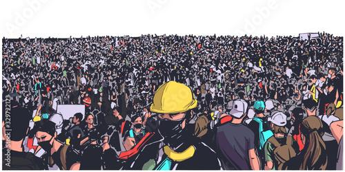 Fotografie, Obraz Illustration of large protesting crowd