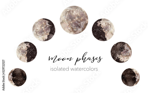 Photo Watercolor moon phases illustration